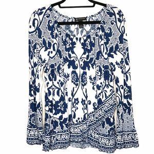 I.N.C Flattering Blue/White Floral Bell Sleeve Top